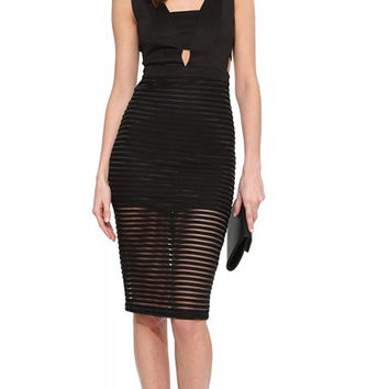 Black Mesh Bodycon Sleeveless Mid Dress