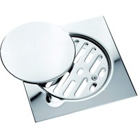 "ME Steel Aisi 304 Shower Floor Drain 5.9""x5.9"" Removable Cover Polished Chrome"