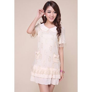 White Bowknot Lace Chiffon Mini Dress