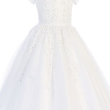 Floral Beaded Appliques on Tulle Overlay First Holy Communion Dress (Girls 5 to 14 & Plus Size)