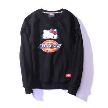 DCCKUNT Womens Black Dickies Hello Kitty Printed Pullovers Sweater