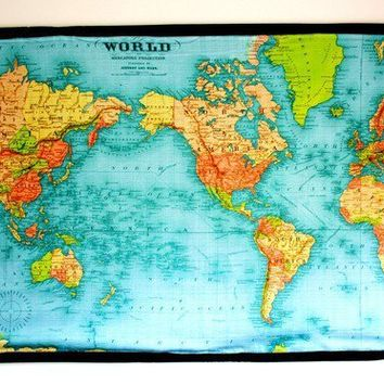 HUGE WALL HANGING vintage world map printed on by mybeardedpigeon