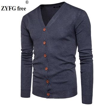 Men Button cardigans Sweaters New Casual Men solid Pullover V Collar Thick Cashmere sweater Outerwear Clothing size S-XXL