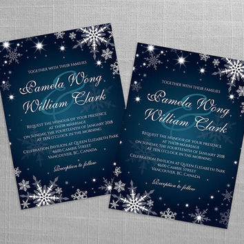 DIY Printable Wedding Invitation Card Template | Editable MS Word file | 5 x 7 | Instant Download | Winter White Snowflakes Dark Turquoise