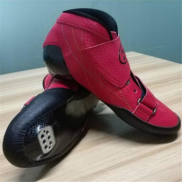 [Carbon Fiber Speed Skates Boot] 2-Layers Carbon Fibre Inline Speed Skate Shoes Roller Skating 30-45 Max Foot Length 27.5cm