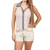Ivory Sheer Lace Button Up Tank With Denim Trim