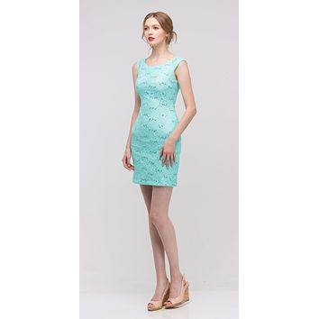 Mint Above Knee Lace Fitted Cocktail Dress Tank Strap