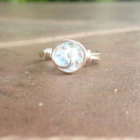Bling ring, clear czech glass swirl ring, stackable ring