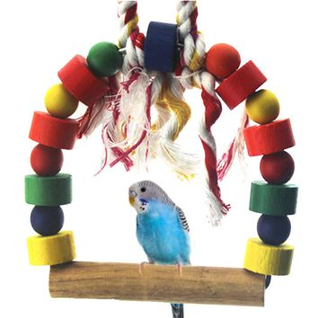 New 2016 Pets Budgie Parrot Bird Round Wooden Ladder Swing Rope Toy Bird Ladder Toy
