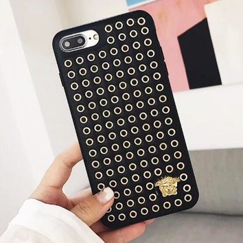 Versace Fashionable Women Men Personality Rivets Mobile Phone Cover Case For iphone 6 6s 6plus 6s-plus 7 7plus 8 8plus X Black