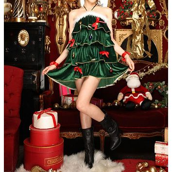 Women Christmas Tree Clothes Party Uniform Fashion Velvet Sleeveless Halter Cute Bow Frills Pompon Mini Dress