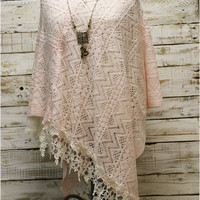 CAMILLA lace poncho  - pink