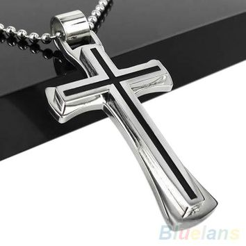 Bluelans Men Women Cool Black Silver Stainless Steel Cross Pendant Chain Necklace  1PCV