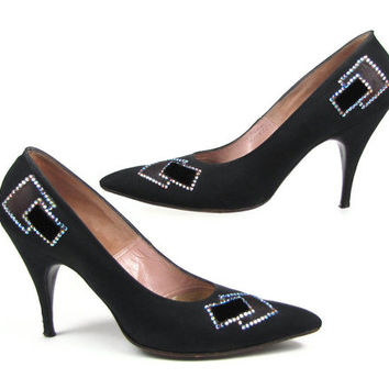 "Enchanted Evening - Vintage 50s Black Spike Heel Pumps with Rhinestone Rectangle Patchwork Design, Size 7 Formalwear Shoes, 3.5"" Heels"