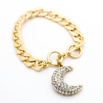 Crescent moon chain bracelet