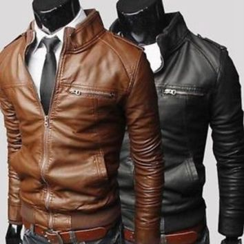 Jeansian Mens Jackets Coats Shirt Outerwear PU Faux Leather 3 Colors 5 Size 8943