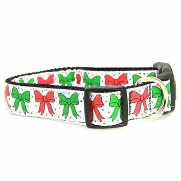 Christmas Bows Nylon Dog Collar