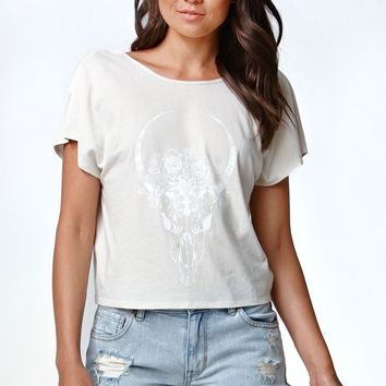 Kendall & Kylie Backless Knot Graphic T-Shirt - Womens Tee - Cement