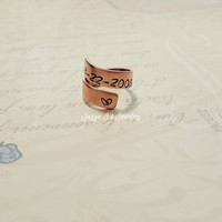Personalized Copper Ring, Hand Stamped Ring, Adjustable Ring, Custom Twisted Ring, Copper Wrap Ring, Anniversary Gift, Add Personalization