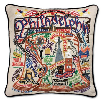 Philadelphia Hand Embroidered Pillow