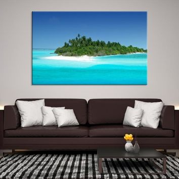 42528 -  Landscape Wall Art Canvas Print of Forest on Turquoise Sea