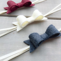 Red Felt Bow Headband Set, Baby Bow Headband, Gray Felt Bow Headband, Cream White Bow Headband, Felt Bow headband set,