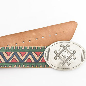 Vintage 70s Belt - Painted Leather MOROCCAN  Hippie Boho Silver Buckle - Small - Large