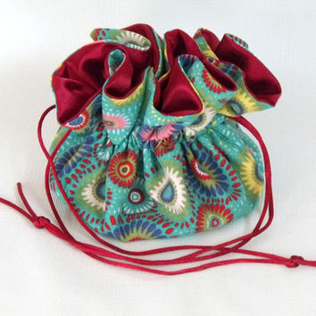 Drawstring Jewelry Pouch, Travel Tote  Medallions in Turquoise Medium