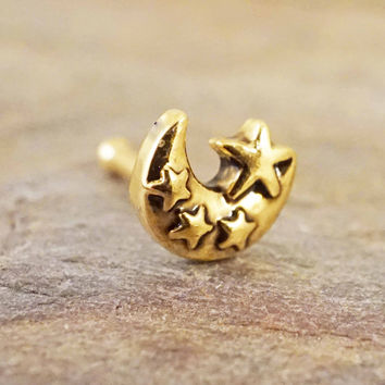 Lunar Moon and Stars 20g Gold Nose Ring