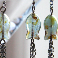 Gone Fishing - tribal jewelry - Long Chain Earrings, Blue Green Glass Fish, Boho Earthy Primitive, Antique Bronze, Gunmetal Chains
