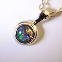Blue and Red Triplet Opal Pendant in Double Bezel Sterling Silver - Macs Opals