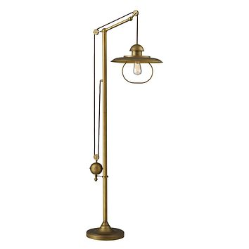 D2254 - Farmhouse 1-Light Adjustable Floor Lamp in Antique Brass.