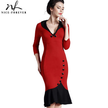 Nice-forever Mermaid Button Autumn 3/4 Sleeve red New Vintage dress V neck formal work bodycon office Wiggle Midi dress b27