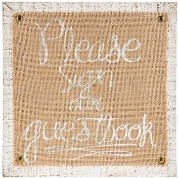 Antique White & Burlap Guest Book Sign | Hobby Lobby