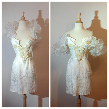 80s Loralie Dress 1980s Prom Dress Short Wedding Dress Beaded Puffy Sleaves Unusual Short Fitted Dress size Small
