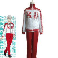 Anime Yuri!!! on Ice Victor nikiforov Sportswear Suit Outfit Cosplay Costume Coat Pants