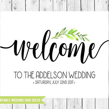 Wedding Welcome Sign, Wedding Sign, 16x20 Printable Wedding Sign, Wedding Decor, Welcome Sign, Wedding, PRINTABLE FILE