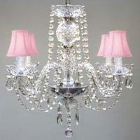 "ALL CRYSTAL CHANDELIER CHANDELIERS WITH PINK SHADES H17"" X W17"""
