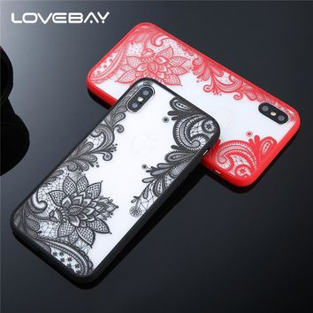 Lovebay Phone Case For iPhone X 8 7 6S Plus 5s SE Sexy Lace Mandala Henna Floral Paisley Flower Clear Case For iPhone 6 Cover