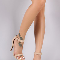Anne Michelle Nubuck Open Toe Ankle Strap Heel