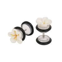 White Hawaiian Rose Faux Plugs 2 Pack