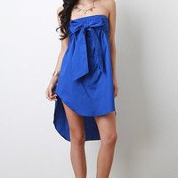 Oversized Bow Tie High Low Tube Dress