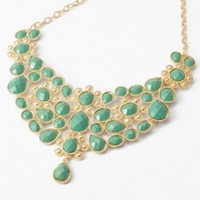 Fashion Gold Tone Chain Curve Sea Green Water Drop Resin Beads Pendant Bib Necklace