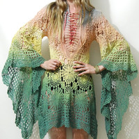 CROCHET Lace Dress COTTON Ombre Dip-Dye Rainbow Lace-up Corset Front Long Flared Bell Sleeves Mini Bohemian Boho Gypsy Vintage Handmade xs s
