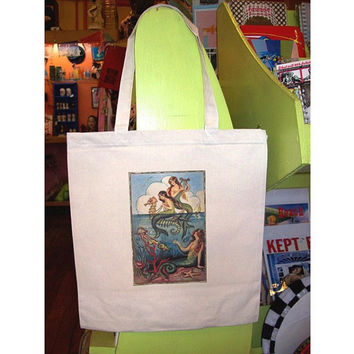 mermaid tote bag rockabilly retro vintage 1950's pin up girl  nautical kitsch purse