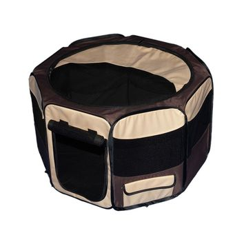 "Octagon Pet Pen With Removable Top - 46""L X46""W X28""H - Sahara"