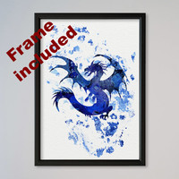 Dragon Poster Watercolor Print Watercolor Picture Watercolor Art Print Illustration Art Wall Decor Fairy Tale Print FRAMED