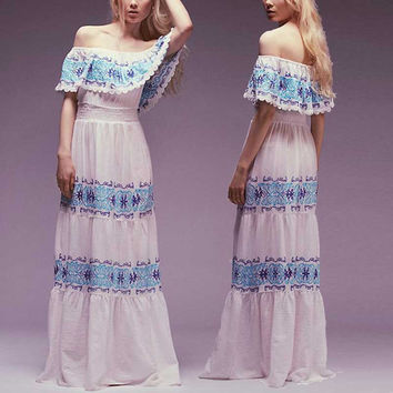 Latest 2017 ruffle layered Maxi dress Off Shoulder Umbrella style blue Embroidery white cotton women party dresses chic vestidos