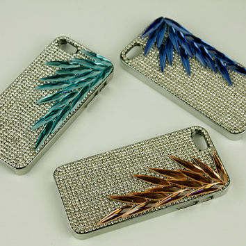 feather iphone 5s case rhinestone iphone 4s cover alloy blue women luxury iphone 4 skin covers iphone 5 phone cases iphone 4s otterbox phone