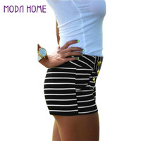 Women Shorts Striped Shorts High Elastic Waist Ladies Casual Shorts Black Plus Size SM6